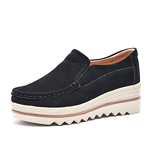 Damen Mokassins Plateau Wildleder Schlupf Loafers Halbschuhe Sneaker mit Keilabsatz 5cm Schwarz Blau Khaki 35-42 Schwarz 35 (Schwarz Leder Khaki)