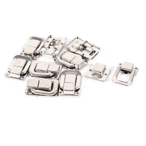 Sourcingmap A14011400UX0457 Schublade Werkzeugkoffer Knebelverschluss Verschluss/Schnappschloss, 9 Teile, Silberfarben (Verschluss Teil)
