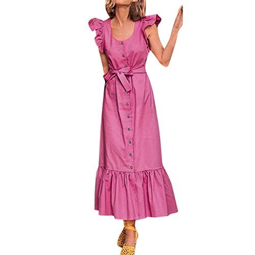 UOWEG Kleid Damen Urlaub sexy Rüschen Ärmel Bogen Kleid Damen Beach Party Kleid Asos Zip