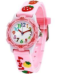 Montre Enfant Fille Pédagogique Quartz avec Bracelet Caoutchouc 3D Motif Cadran Blanc 3-8 ans - Rose Fraises