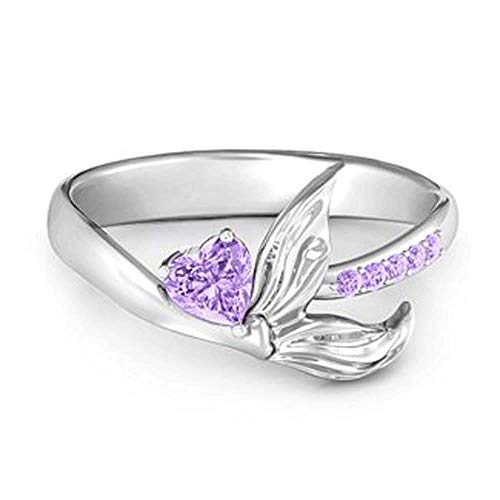 White Gold Engagement Ring of 18 Carat with Heart-shaped Purple Amethyst for Women, of the Dividiamond Mark