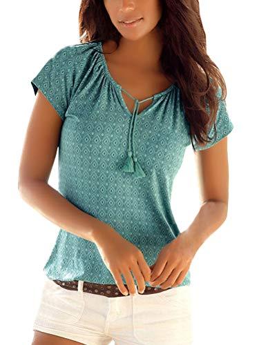 Minetom T-Shirt Damen V-Ausschnitt Kurzarm Oberteile Sommer Gedruckt Neckholder Blusen Boho Casual Tee Shirts Bluse Tops A Grün DE 38 -
