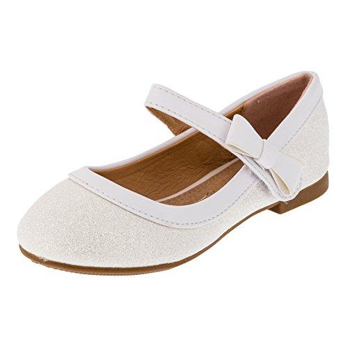 Festliche Mädchen Glitzer Ballerinas Schuhe mit Echt Leder Innensohle M407ws Weiß 19