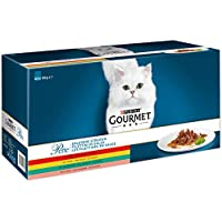 Purina GOURMET Perle Erlesene Streifen: Katzennassfutter mit Huhn, Rind, Lachs & Kaninchen, hochwertiges Katzenfutter, 60er Multipack (60 x 85 g Portionsbeutel)