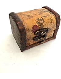 Mini caja de madera de joyería Gemelos del pecho del diseño floral de la vendimia Pequeña