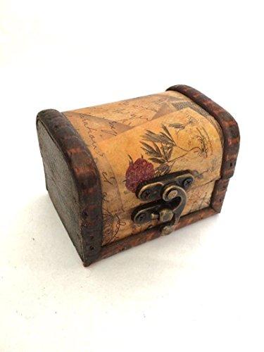 Mini-Holz-Aufbewahrungsbox Schmuck Manschettenknöpfe Brust Kleine Vintage-Blumenmuster (Holz-schmuck Brust)