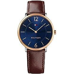 Reloj analógico para hombre Tommy Hilfiger 1710354, mecanismo de cuarzo, diseño clásico, correa de piel.