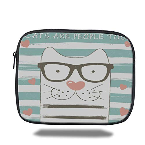 Tablet Bag for Ipad air 2/3/4/mini 9.7 inch,Animal Decor,Hipster Cartoon Cat with Glasses Hearts and Stripes and Quotation Art,White Blue and Pink,3D Print -