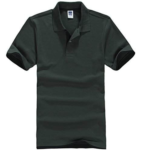 Smile YKK Herren Männer Basis Sommer Kurzes Aermel Poloshirt T-Shirt Hoodie T-Shirt Hemd Schwarzgrün