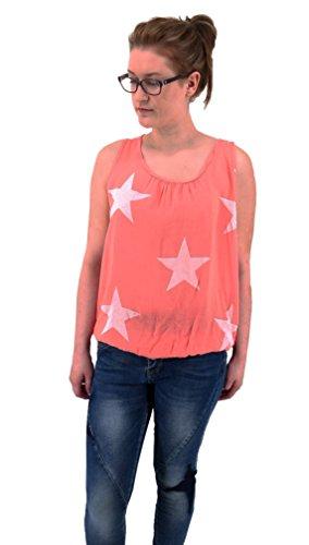 stylisches modernes Top Shirt ärmellos mit Stern Print M L 38 40 42 (8215) (hummer lachs (Outfit Hummer)