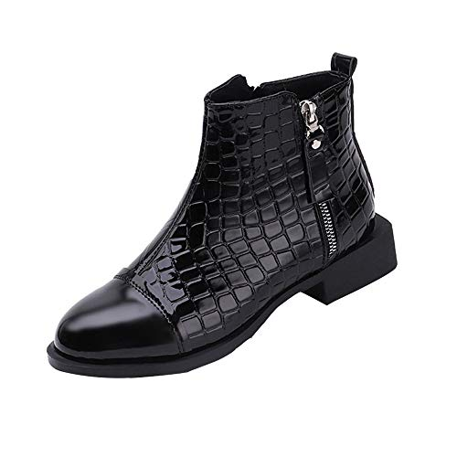 Stiefel Damen Boots Frauen Mode Leder Reißverschluss Stiefeletten Square Dicke Martin Stiefel Runde Kappe Schuhe Klassische Freizeitschuhe Britische Stil Boot ABsoar
