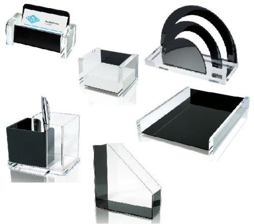 Schreibtisch - Set / Schreibtischserie Wedo Acryl Exklusiv in Schwarz - Glas Optik