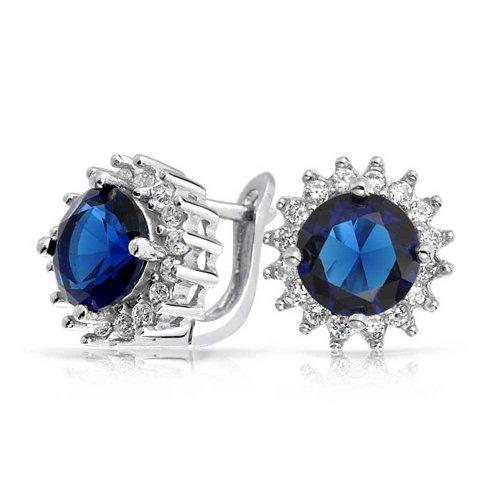 Ohrstecker Für Frauen Simulierten Sapphire Cz Halo Krone 925 Sterling Silber 11 Mm ()