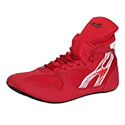 Excido Men Red, White Suede Leather, Mesh Wrestling Sport Shoes (ks02, Size: 40 Euro)