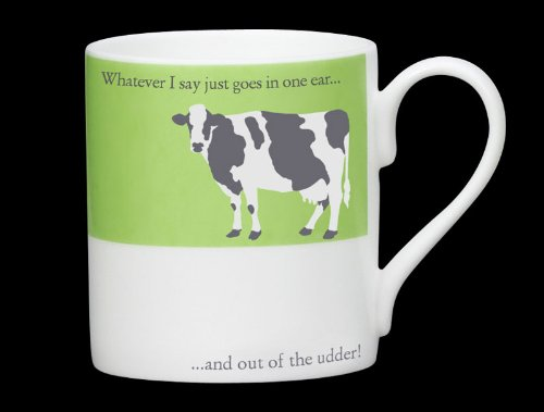 Silhouette grün Kuh Funny Bone China Becher, in einem Ohr & Out des euters-Stoke On Trent, England