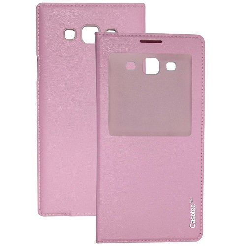 Casotec Premium Caller-id Flip Case Cover for Samsung Galaxy A7 - Baby Pink  available at amazon for Rs.149