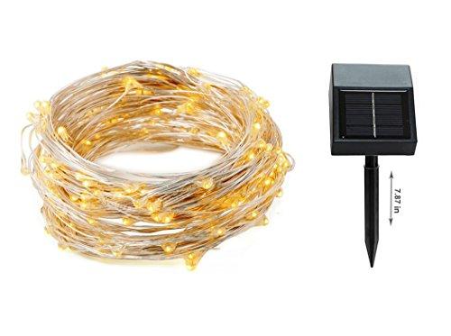 EloBeth stringa solare illumina su filo di rame flessibile 39ft 100 LED per esterno leggiadramente solari String Lights Ambiance illuminazione per giardini, case, festa di Natale-2 Modalità (steady on / flash) Bianco Caldo