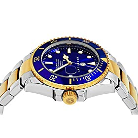 Henry Jay Mens 23K Gold Plated Two Tone Stainless Steel ''Specialty Aquamaster'' Professional Dive Watch with Date (Amazing Christmas Gift)