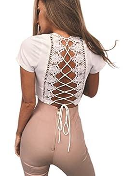 Moorui Mujeres V-cuello T Shirts Espalda Descubierta Lace-up Camiseta Corto Crop Tops