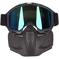 YVSoo Mascara Airsoft, Máscara Facial Táctica Protectora con Desmontable Protector Gafas para Nerf, Moto
