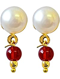 Surat Diamonds Button Pearl Studs with Dangling Red stone Earrings for Women (SE159)