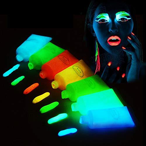 Body Painting Set, handgemalte leuchtende Farbe, Haut verfügbar, waschbar, sicher und ungiftig für Maskerade, Nachtclub, fluoreszierende Party, Bar, Halloween ()