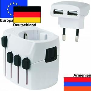 World Travel Plug + Charger - Welt Reiseadapter inkl. 2 Port USB Ladegerät Armenien / Welt - Deutschland - Weltreisestecker - Germany / Armenia