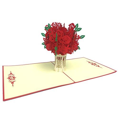 """Grußkarte """"Rote Rosen"""" Pop Up 3D Blumen Karte blanko für Geburtstagsgrüße. Originell als Geburtstagskarte, Glückwunschkarte, Einladungskarte oder ausgefallene Hochzeitskarte mit Umschlag im Set"""