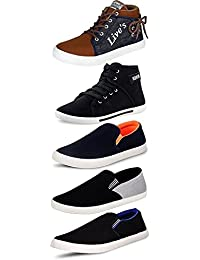 Leewon Men's Perfect Combo Pack Of 4 Black Casual Sneakers Shoes And Loafer Shoes For Men