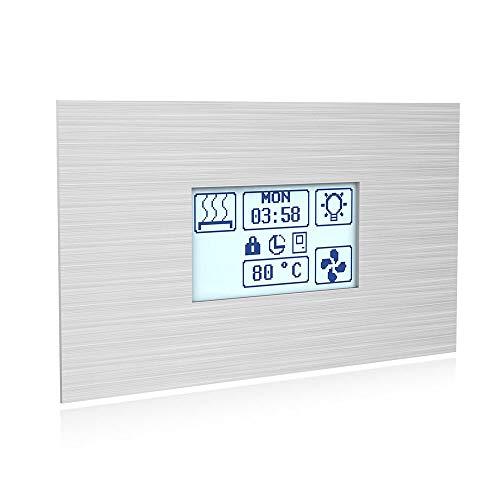 SAWO Innova Touch Stainless Steel Steuereinheit für elektrische Saunaöfen, Touchscreen Bedienfeld und Netzteil, Multispannung: entweder einphasig oder dreiphasig; für regelmäßigen Saunaofen