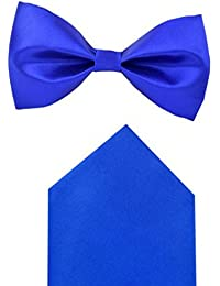 Red Eye Royal Blue bow tie with pocket square combo set for Men's