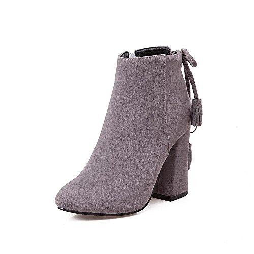 AgooLar Damen Reißverschluss Blockabsatz Mattglasbirne Rein Stiefel mit Schleife Grau