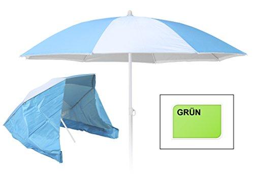 Meinposten Sonnenschirm 2in1 Strandmuschel Ø 150 cm Strandschirm Schirm 98% UV Schutz (Grün)
