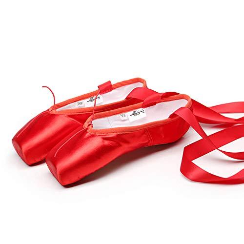 YAN Women es/Girls ' Ballet Shoes Satin Silk Dance Shoes Adult Hard Bottom Point Shoes Bandage Training Shoes Children ' S Dance Shoes,Red,41 -