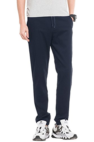 INFLATION Men's Chino Stretch Jogger Trousers Cotton Smart Dress Pants Casual Outdoor Sweatpants with Drawstring 16 Colours