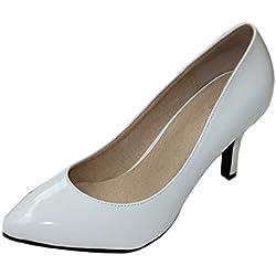 Honeystore Frauen's Lackleder Stöckel Absatz Absatzschuhe Geschlossene Zehe Schuhe Weiß 36 EU
