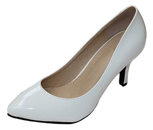 Honeystore Frauen's Lackleder Stöckel Absatz Absatzschuhe Geschlossene Zehe Schuhe Weiß 39 EU