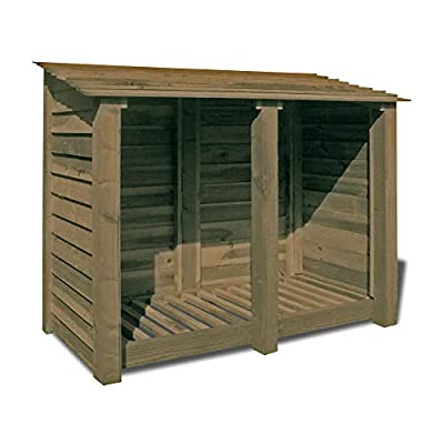 Cottesmore 4ft Wooden Log Store/Garden Storage Heavy Duty Pressure Treated Wood (Solid Sides, Rustic Brown)
