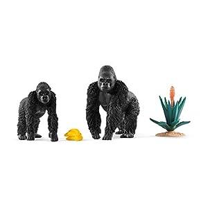 Schleich - Set 2 figuras de Gorilas en busca de Comida. Gorila Macho y Gorila Hembra