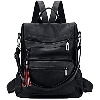 7573fec7ba2d Mynos Women Backpack Purse 3 Ways Ladies Rucksack Anti-Theft Convertible  Travel Bag PU Leather Crossbody Shoulder Bag (Anti-theft Black)