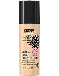 lavera Natural Liquid Foundation Makeup∙Farbe Honey Sand Hautfarbe∙Natural,innovative Make up✔Bio Pflanzenwirkstoffe✔Naturkosmetik(1x30 ml)