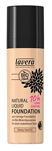 lavera Natural Liquid Foundation Makeup∙Farbe Honey Sand Hautfarbe∙Natural,innovative Make up✔Bio Pflanzenwirkstoffe✔Naturkosmetik(1x30 ml)