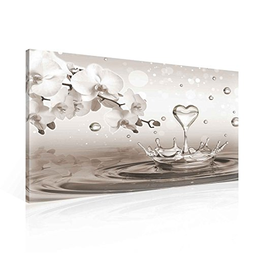 Wallsticker Warehouse Muster Blumen Orchideen Herz Tropfe Grau Leinwand Bilder (PP2530O1FW) Size O1-100cm x 75cm - 230g/m2 Canvas - 1 Piece -
