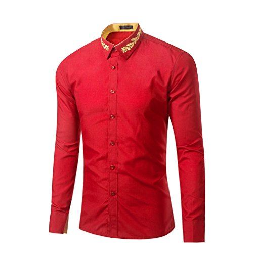 Honghu Slim Fit Cuello de la Camisa Clásica Business Camisas Manga Larga para Hombre XX-Large Rojo