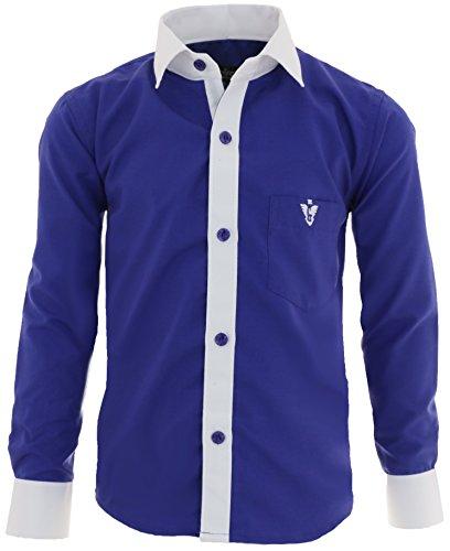 A2vDa Kinder Party Hemd freizeit Hemd bügelleicht Lange Arm mit 8 Farben Gr.86-158 (116/122, Blau)