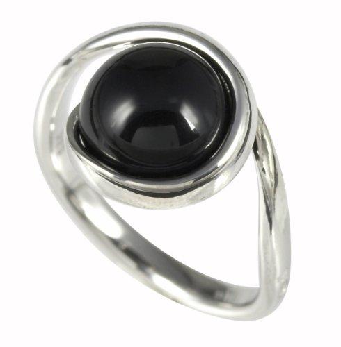 Merii Damen-Ring 925 Sterlingsilber rhodiniert Onyx schwarz Gr. 58 (18.5) M0518R/90/13/58