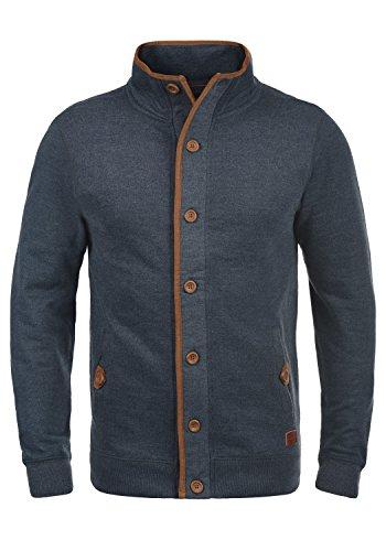 BLEND Achilles Herren Strickjacke Cardigan mit Stehkragen aus hochwertiger Baumwoll-Mischung Meliert, Größe:L, Farbe:Navy (70230) (Herren-baumwoll-mischung)