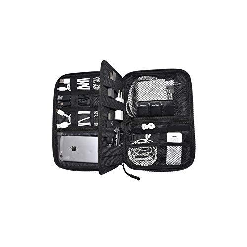 Reise Kabeltasche/Organizer von Nomalite | Tasche für Kabel, Ladegeräte und Elektronik-Zubehör mit 5 Taschen, 20 elastischen Schlaufen, Einem mittige und 3 Einschüben für SIM-Karten/USB-Zubehör.