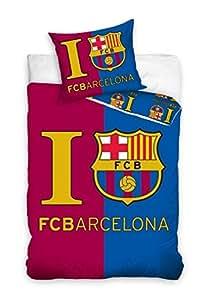 I LOVE FC BARCELONA LINGE DE LIT PARURE HOUSSE DE COUETTE 160x200 + TAIE 70x80 (FCB 6)