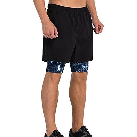 Vansydical Compressione Sport Short con Leggings Basic nero pantaloni pantaloncini allenamento allenamento allenamento Base-livello 2 in 1 (lampo nero, XXL)